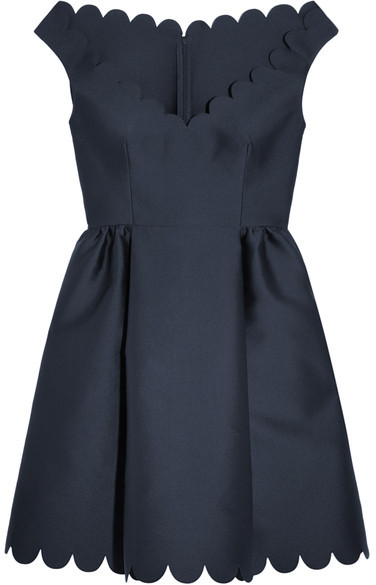 RED Valentino REDValentino - Scalloped Twill Mini Dress - Navy