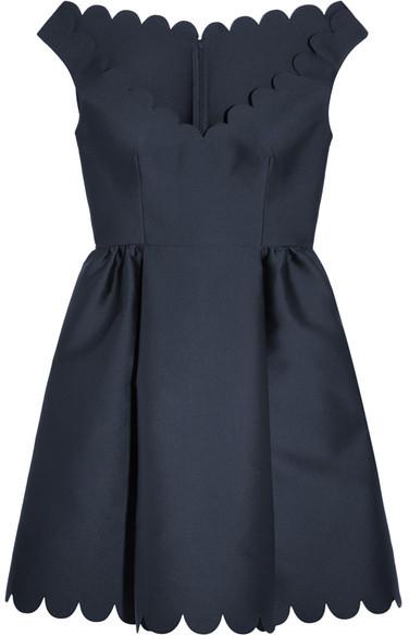 RED ValentinoREDValentino - Scalloped Twill Mini Dress - Navy