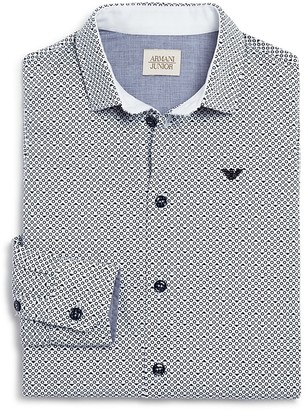 Armani Boys' Logo and Circle Dress Shirt - Sizes 4-16 $185 thestylecure.com