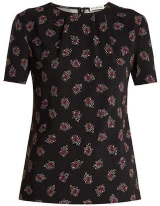 Altuzarra Devan Floral Print Stretch Cady Top - Womens - Black Print