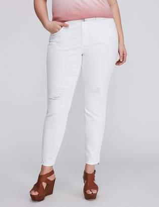 Destructed Ankle-Zip Skinny Jean