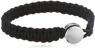 Tommy Hilfiger Tommy Men's Coated Cord Black Machrame Bracelet with Etched Button