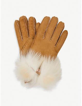 UGG Bow-detail long pile sheepskin gloves