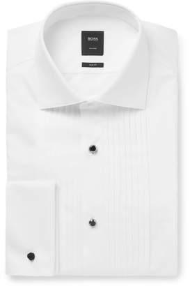 HUGO BOSS White T-Colin Slim-Fit Bib-Front Double-Cuff Cotton Tuxedo Shirt