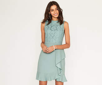 Oasis LONG LACE FLOUNCE DRESS