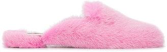 Mink fur flat slippers