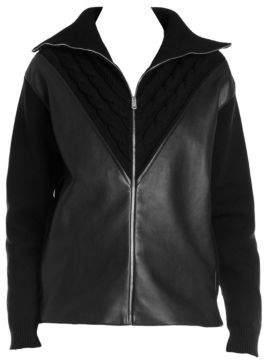 Prada Leather Knit Panel Jacket