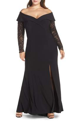 Xscape Evenings Off the Shoulder Lace Sleeve Evening Gown
