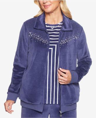 Alfred Dunner Petite Comfortable Situation Embellished Velour Jacket