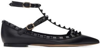 Valentino Black Garavani Rockstud Cage Ballerina Flats
