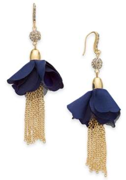 INC International Concepts I.n.c. Gold-Tone Crystal Bead, Fabric Flower & Chain Tassel Drop Earrings, Created for Macy's