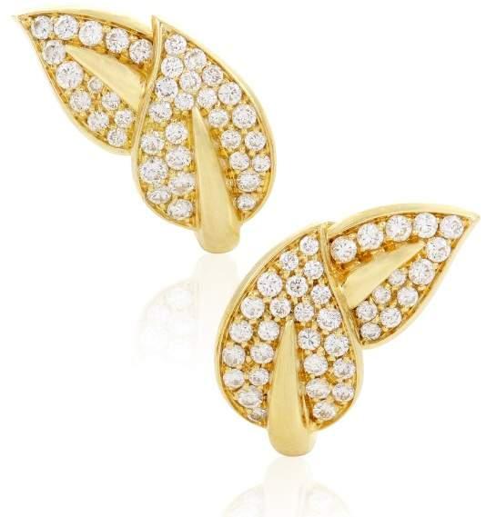 Van Cleef & ArpelsVan Cleef & Arpels 18K Yellow Gold Diamond Pave Leaf Earrings