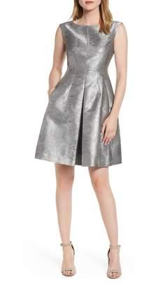 Anne Klein Satin Jacquard Fit & Flare Dress