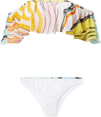 Missoni Mare Multicolor Ruffle Off Shoulder Bikini