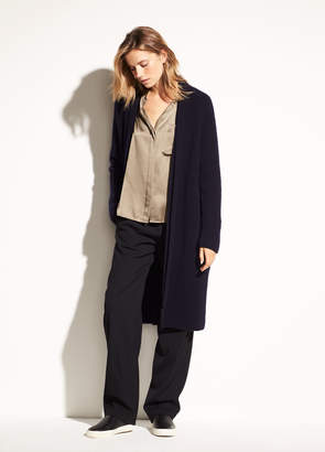 Vince Saddle Shoulder Wool and Cashmere Cardigan