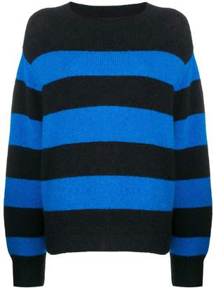 Closed striped drop shoulder sweater