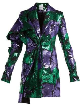 HALPERN Floral-print sequin-embellished dress