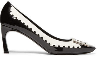 Roger Vivier Trompette Perforated Smooth And Patent-leather Pumps - Black