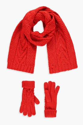 boohoo Cable Knit Scarf & Glove Set