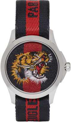 Gucci Navy and Red G-Timeless LAveugle Par Amour Tiger Watch