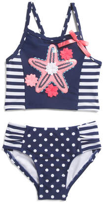 Flapdoodles Toddler And Little Girls 2pc Starfish Swimsuit