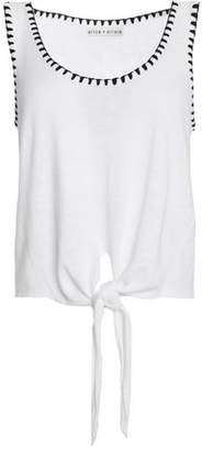 Amazon Cheap Price View Online Alice+olivia Woman Tie-front Whipstitched Slub Cotton-blend Tank White Size M Alice & Olivia Outlet Buy sSOQOS