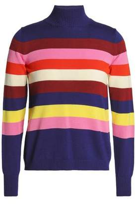 DELPOZO Striped Merino Wool Turtleneck Sweater