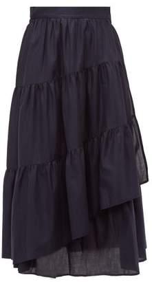 a289c0afaebff1 Merlette New York Hallerbos Tiered Wrap Cotton Lawn Midi Skirt - Womens -  Navy