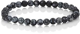 Barneys New York Men's Snowflake Obsedian Beaded Bracelet - Black