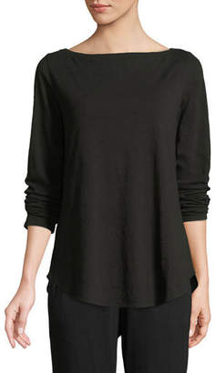Eileen Fisher Organic Cotton Slub Boat-Neck Tee