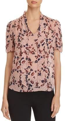 Kate Spade Floral-Print Self-Tie Sash Top
