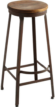 Rejuvenation Tall Industrial Factory Stool w/ Oak Seat