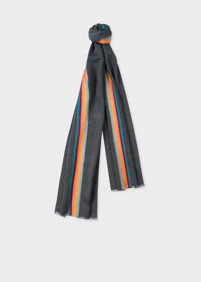 Artist Striped Virgin Wool And Silk-blend Scarf Paul Smith GoNLGO