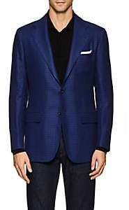 Kiton Men's KB Checked Linen-Cashmere Two-Button Sportcoat - Navy