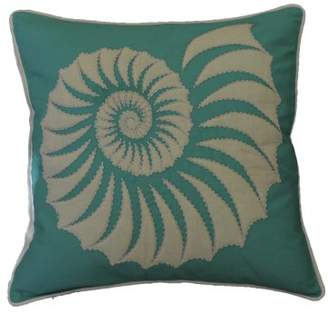 "AM Home Aqua Quilted Trochus Pillow With Beads, Feather Insert, 20"" x 20"""