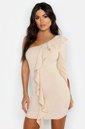 boohoo One Sleeve Ruffle Detail Bodycon Dress
