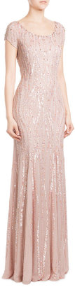 Jenny Packham Bead and Sequin Embellished Floor Length Silk Gown $4,369 thestylecure.com