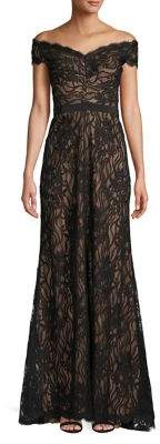 Tadashi Shoji Off-the-Shoulder Lace Fit-&-Flare Gown