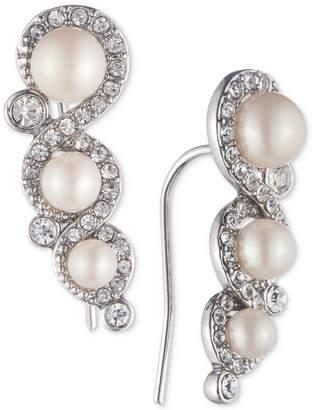 Carolee Silver-Tone Crystal & Imitation Pearl Ear Climber Earrings
