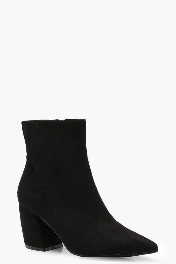 boohoo Curved Heel Pointed Ankle Shoe Boots