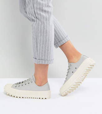 Converse Chuck Taylor All Star Lift Ripple Ox Trainers In Pale Grey