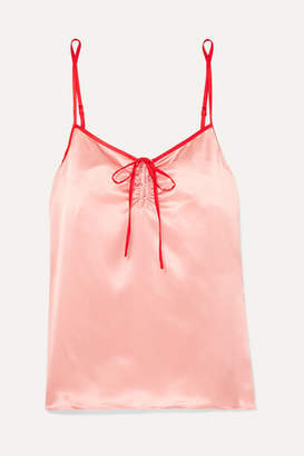 Morgan Lane - Serena Bow-detailed Two-tone Silk-satin Camisole - Blush