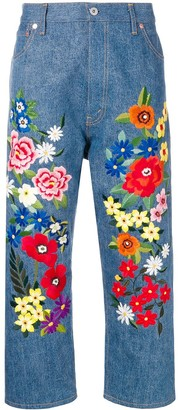 Junya Watanabe floral-embroidered jeans