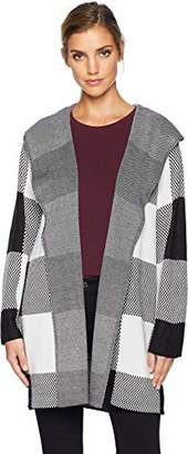 Calvin Klein Women's Long Checked Jacket with Hood
