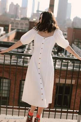Urban Outfitters Maria Puff Sleeve Button-Front Midi Dress