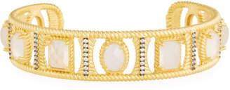Freida Rothman Gilded Cable Stone Cuff Bracelet