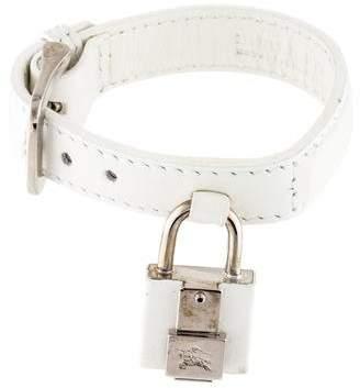 Burberry Padlock Leather Wrap Bracelet