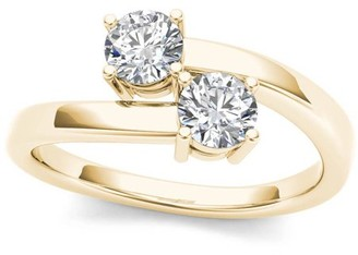 Imperial Diamond Imperial 1/4 Carat T.W. Diamond 10kt Yellow Gold Two-Stone Bypass Band