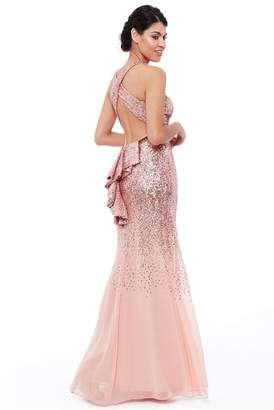 Goddiva Peach Criss Cross Back Sequin Maxi Dress