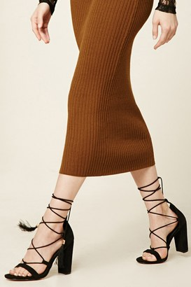 FOREVER 21+ Faux Suede Ankle Wrap Heels $29.90 thestylecure.com